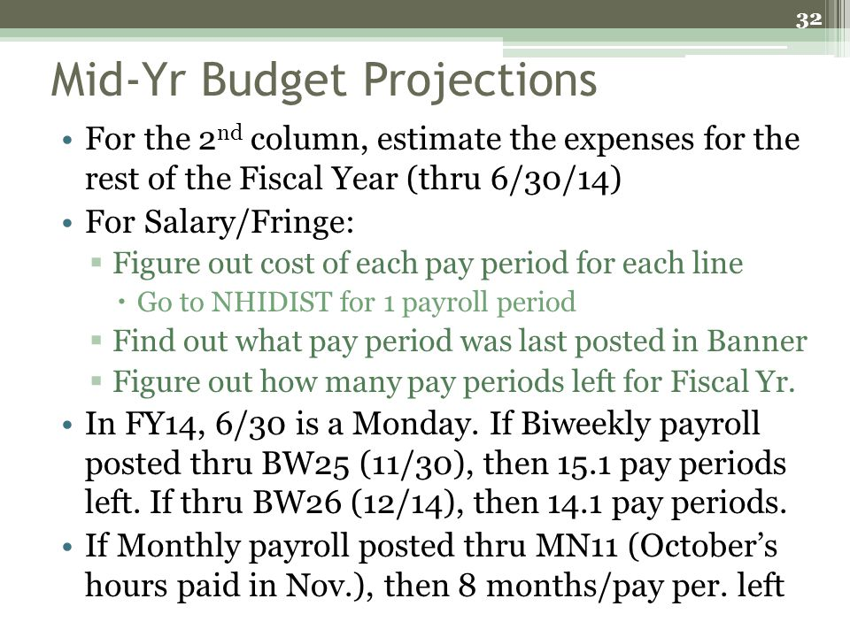 Mid-Yr Budget Projections