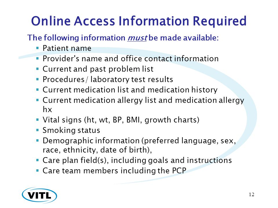 Online Access Information Required