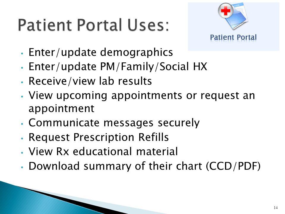 Patient Portal Uses: Enter/update demographics