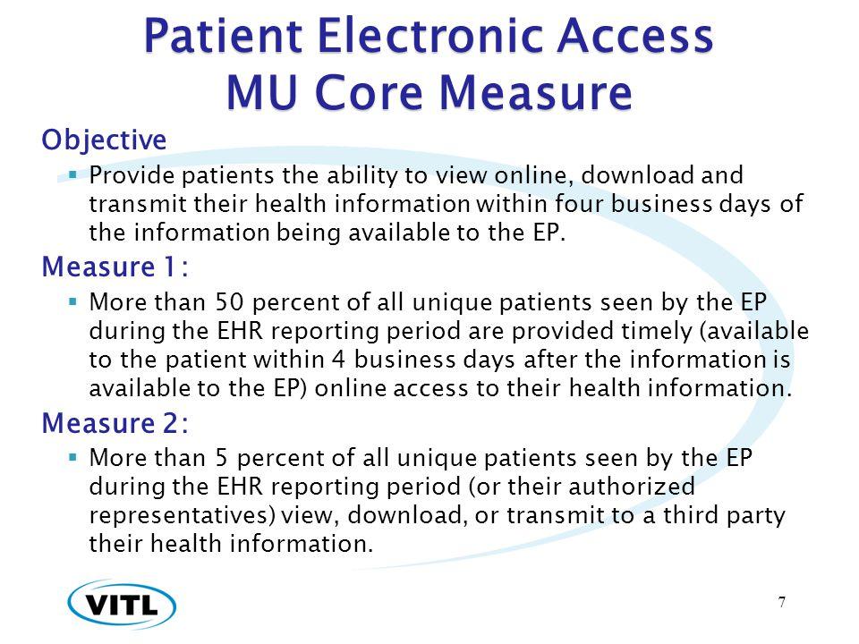 Patient Electronic Access MU Core Measure