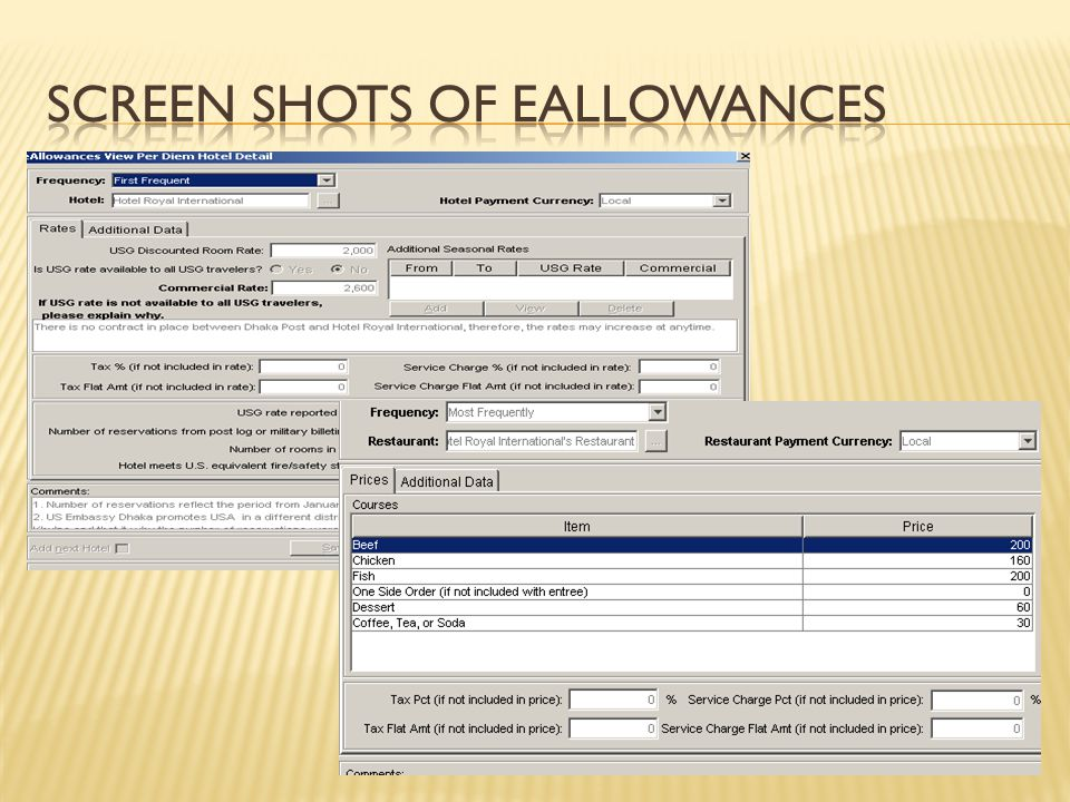 Screen Shots of eallowances