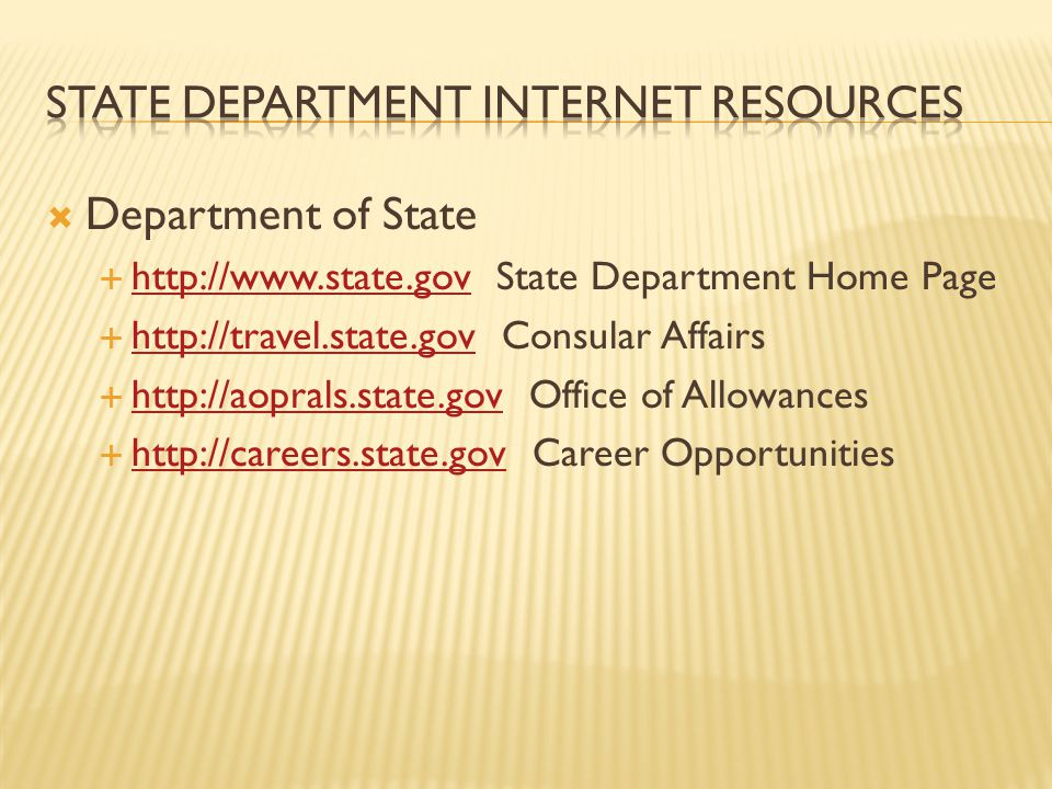State department Internet Resources