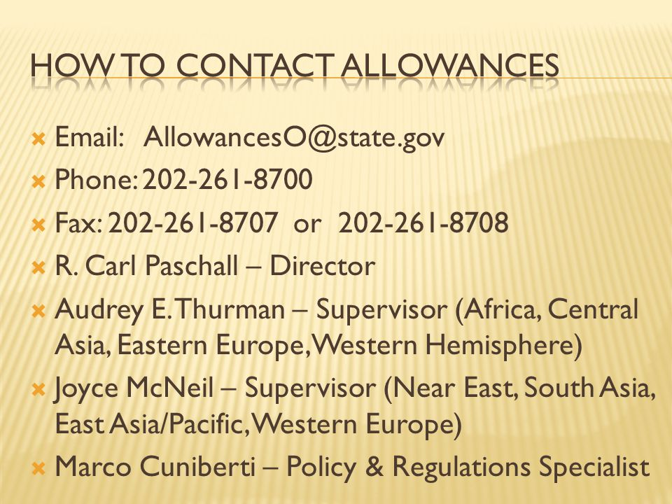 How to contact allowances