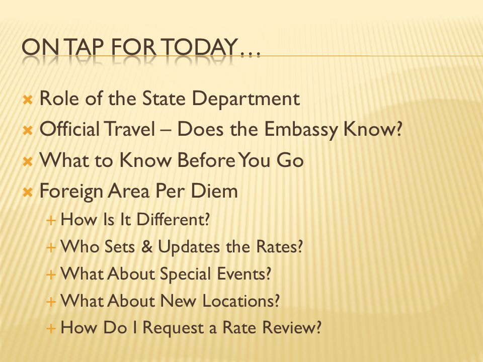 On Tap for today… Role of the State Department