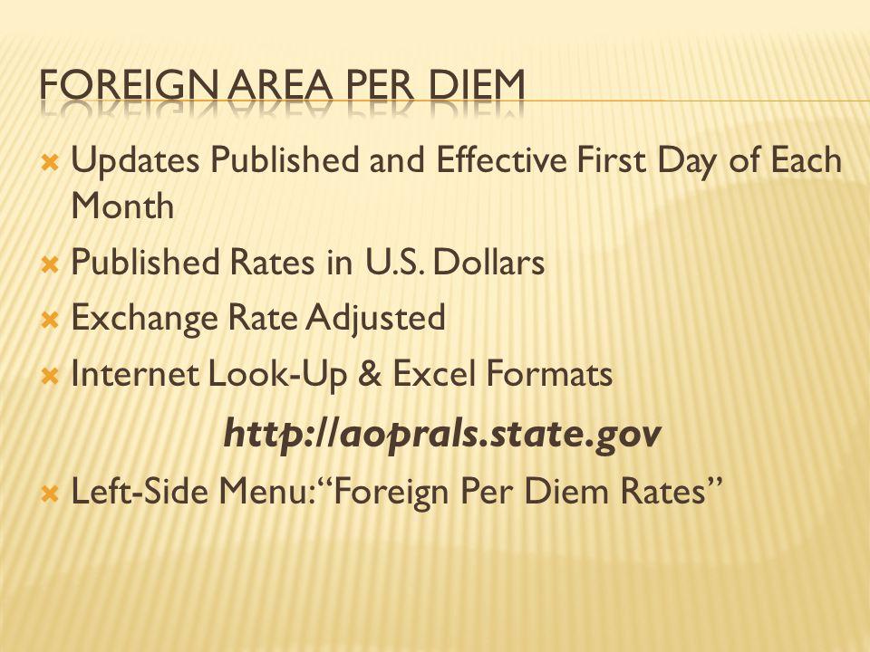 Foreign area per diem http://aoprals.state.gov