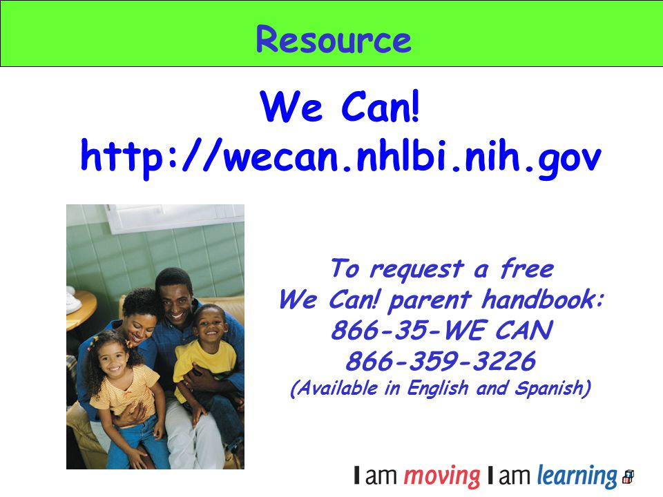 We Can! parent handbook: (Available in English and Spanish)