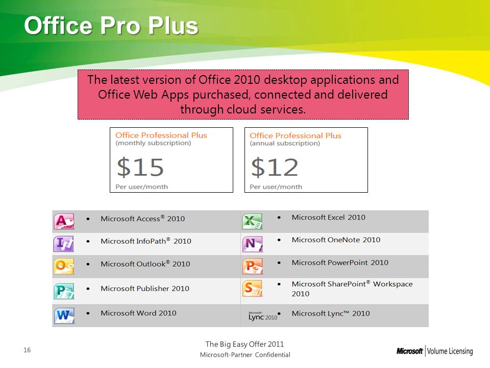 Office Pro Plus The latest version of Office 2010 desktop applications and Office Web Apps purchased, connected and delivered through cloud services.