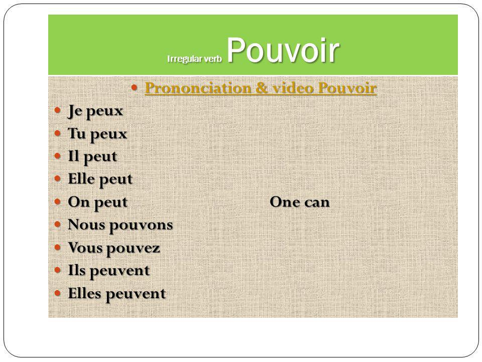 Irregular verb Pouvoir