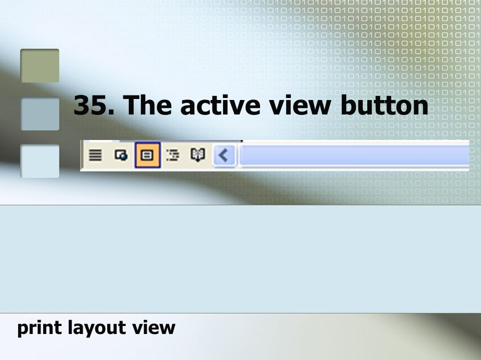 35. The active view button print layout view