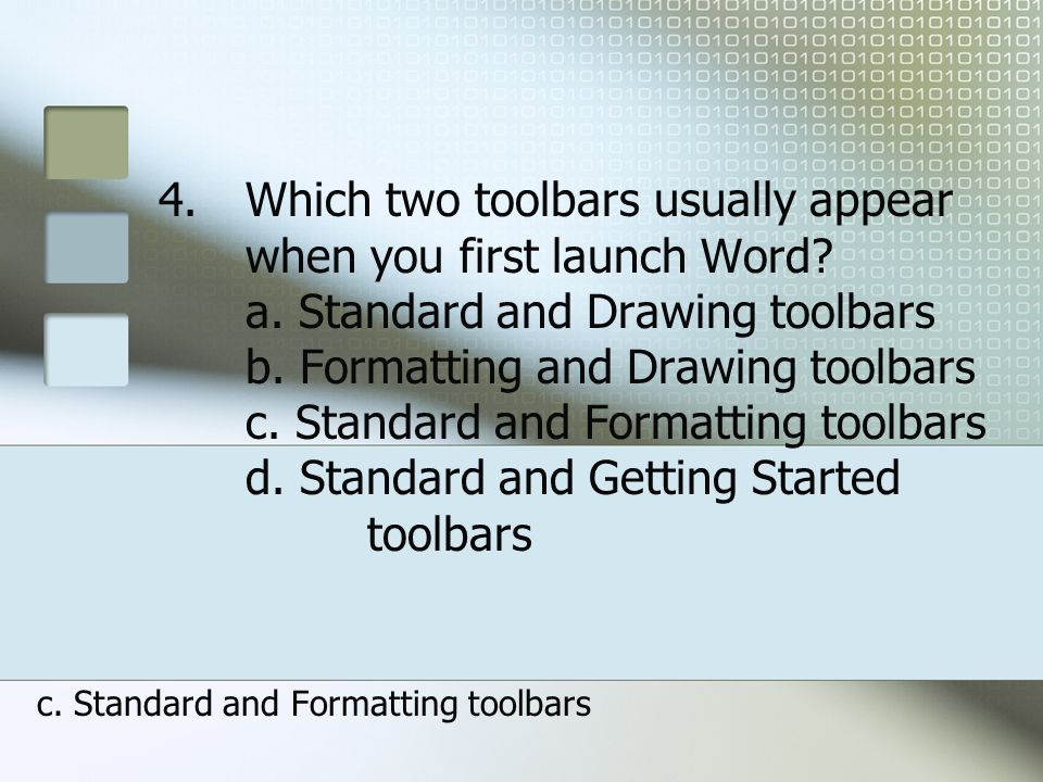 c. Standard and Formatting toolbars