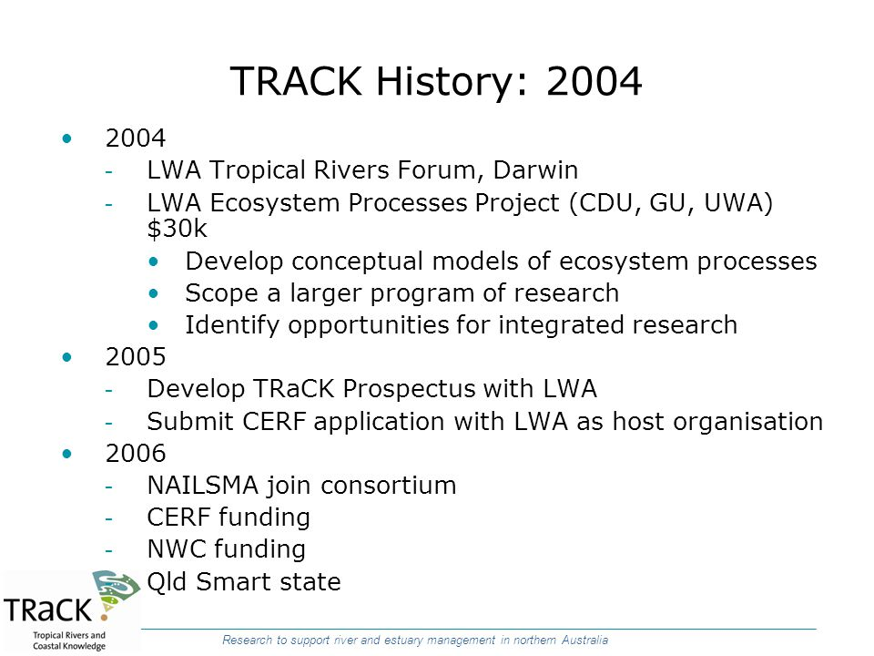 TRACK History: 2004 2004 LWA Tropical Rivers Forum, Darwin