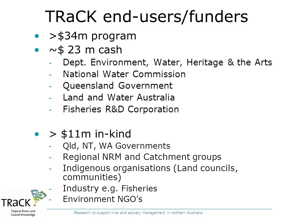TRaCK end-users/funders