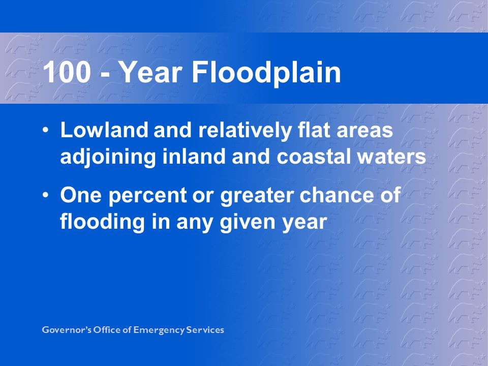 100 - Year Floodplain Lowland and relatively flat areas adjoining inland and coastal waters.