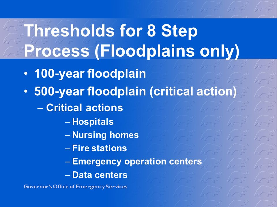 Thresholds for 8 Step Process (Floodplains only)