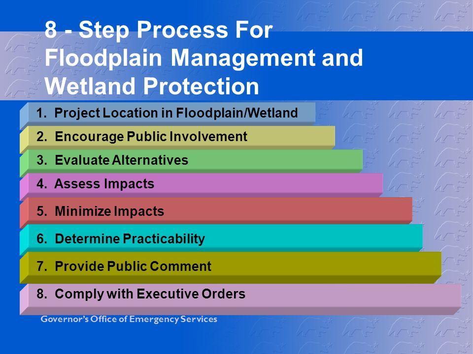 8 - Step Process For Floodplain Management and Wetland Protection