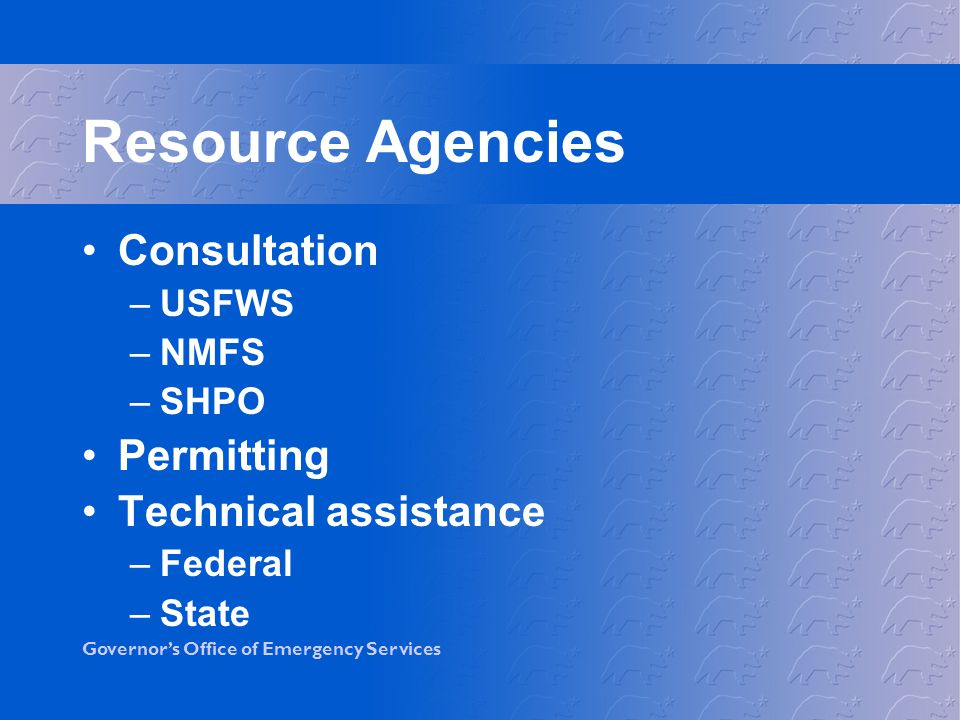 Resource Agencies Consultation Permitting Technical assistance USFWS