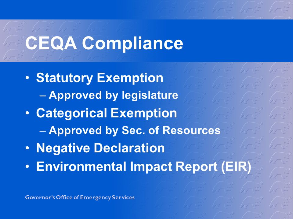 CEQA Compliance Statutory Exemption Categorical Exemption