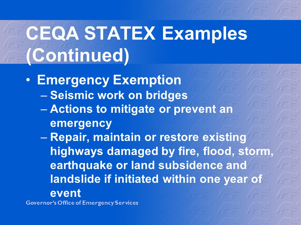 CEQA STATEX Examples (Continued)