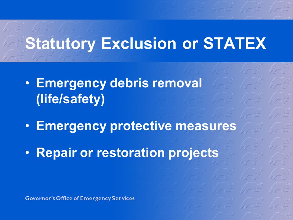 Statutory Exclusion or STATEX