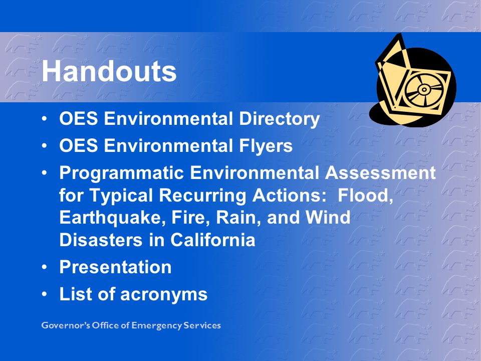 Handouts OES Environmental Directory OES Environmental Flyers