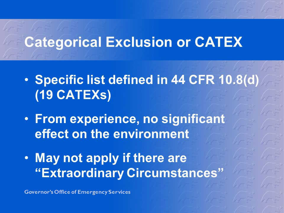 Categorical Exclusion or CATEX