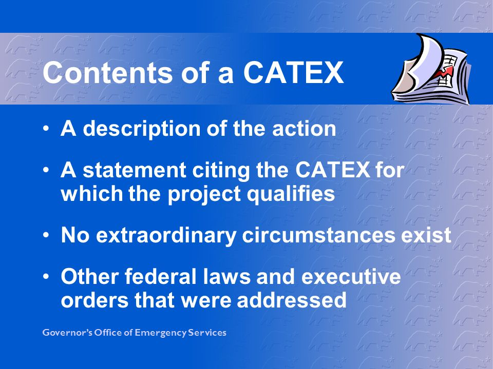 Contents of a CATEX A description of the action