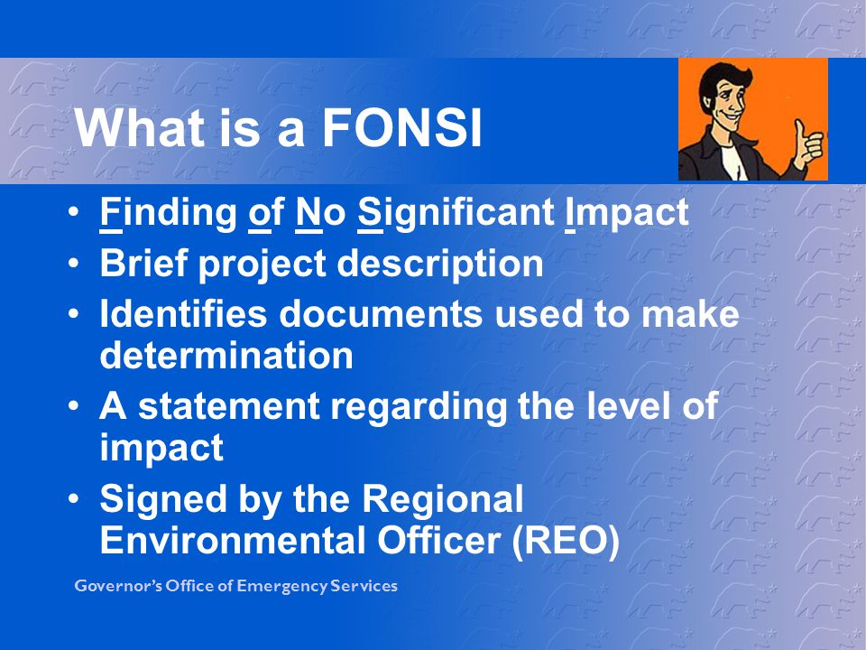 What is a FONSI Finding of No Significant Impact