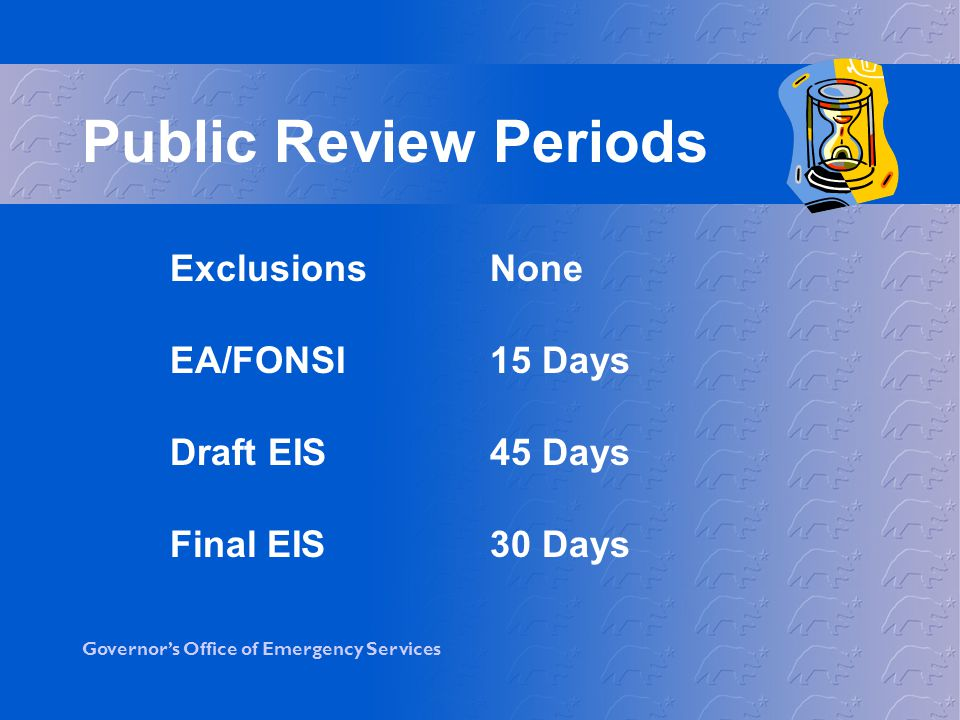 Public Review Periods Exclusions None EA/FONSI 15 Days Draft EIS