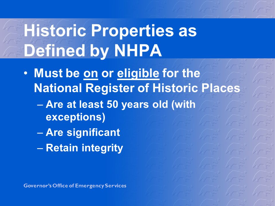 Historic Properties as Defined by NHPA