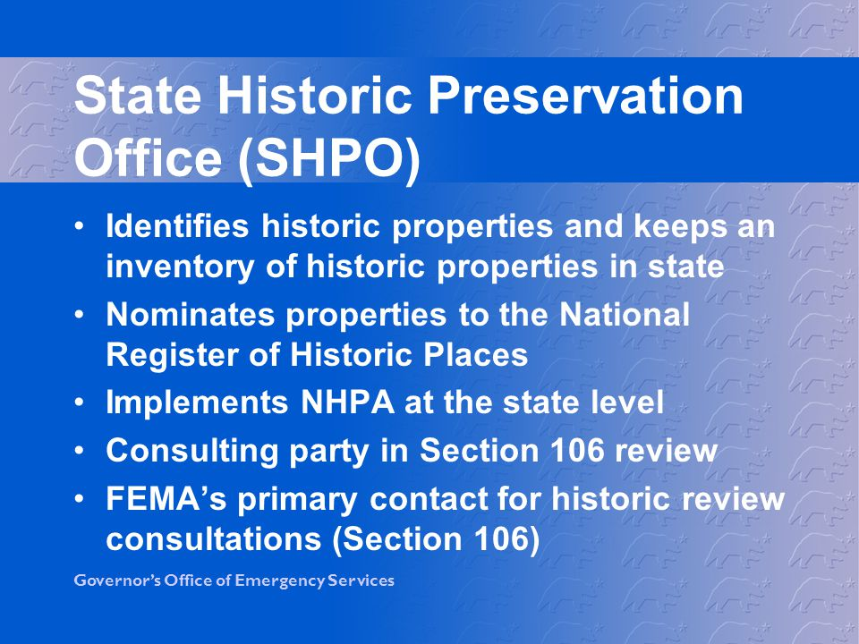 State Historic Preservation Office (SHPO)
