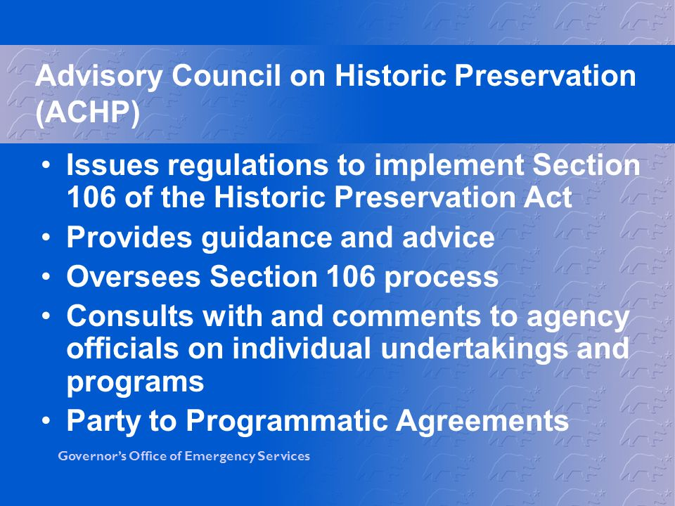 Advisory Council on Historic Preservation (ACHP)