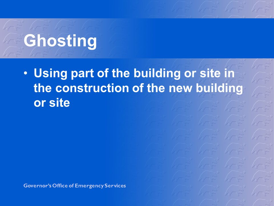 Ghosting Using part of the building or site in the construction of the new building or site