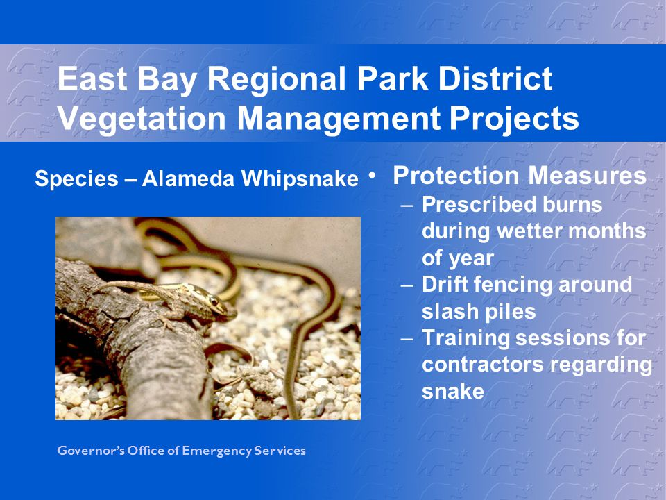 East Bay Regional Park District Vegetation Management Projects