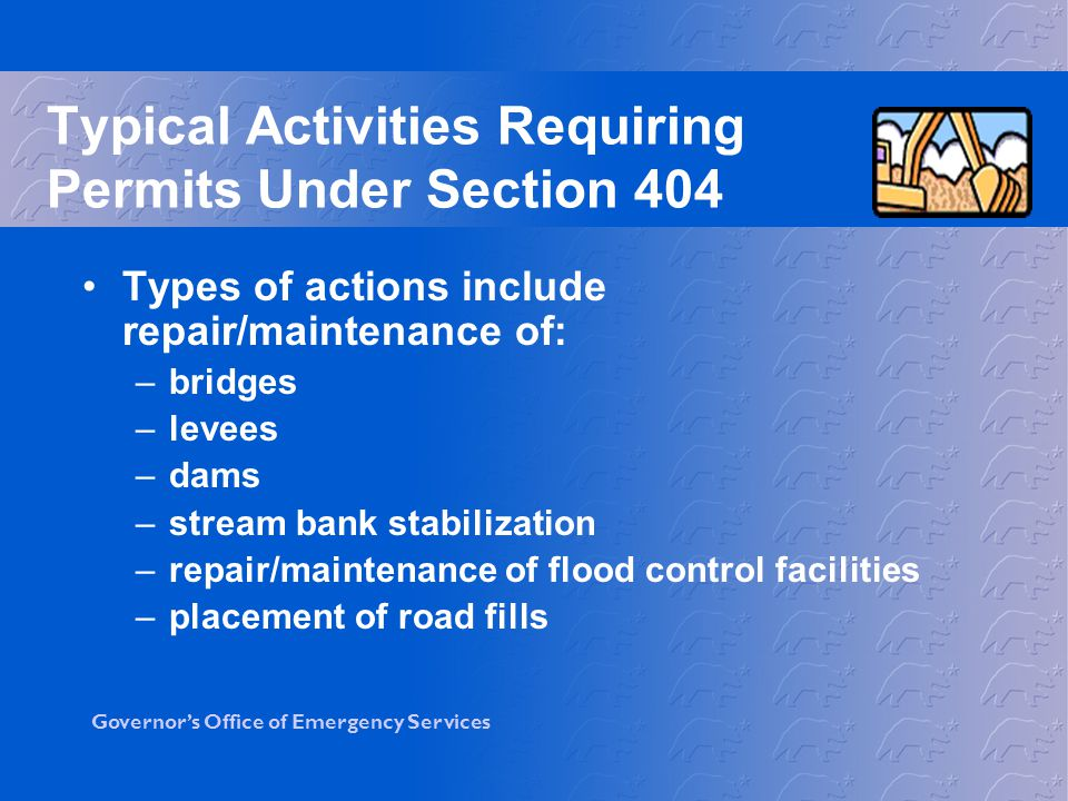 Typical Activities Requiring Permits Under Section 404