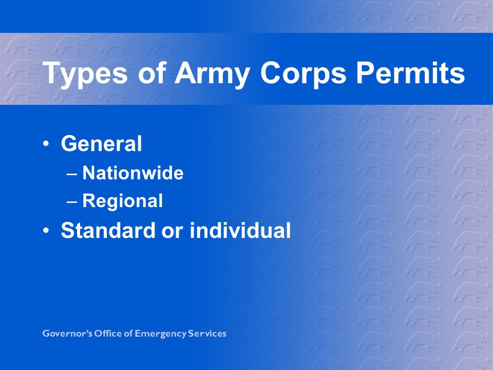 Types of Army Corps Permits