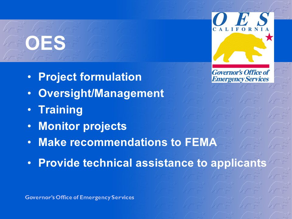 OES Project formulation Oversight/Management Training Monitor projects