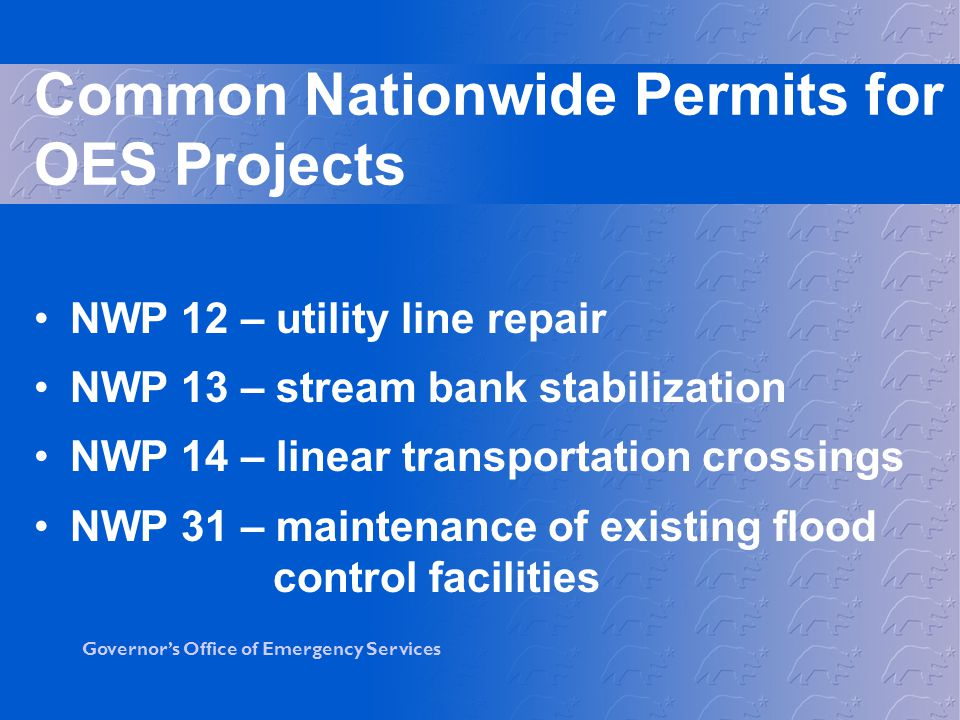 Common Nationwide Permits for OES Projects