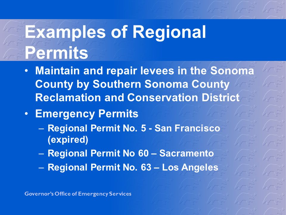 Examples of Regional Permits