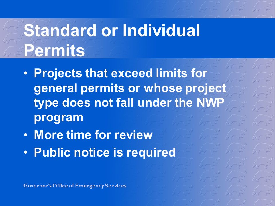 Standard or Individual Permits