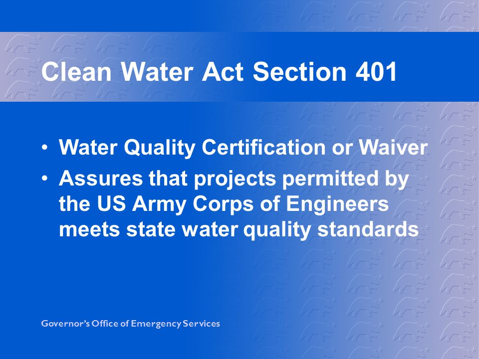 Clean Water Act Section 401