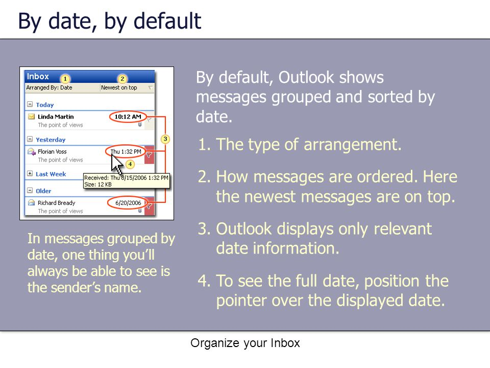 By date, by default By default, Outlook shows messages grouped and sorted by date. The type of arrangement.