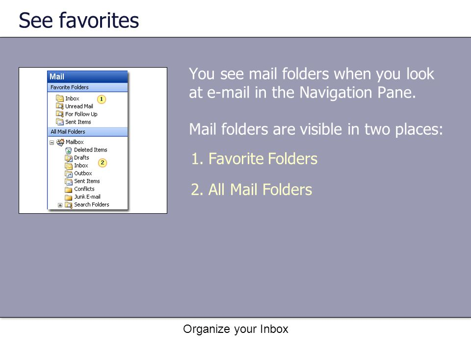 See favorites You see mail folders when you look at e-mail in the Navigation Pane. Mail folders are visible in two places: