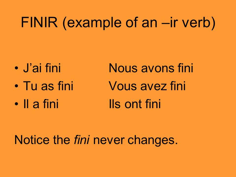 FINIR (example of an –ir verb)
