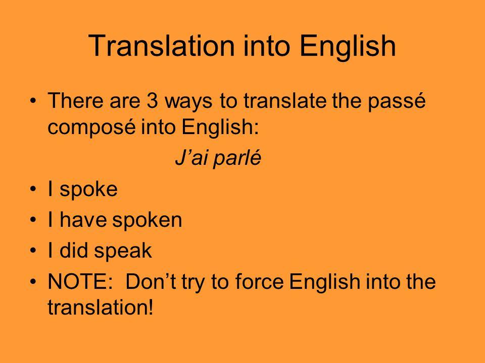 Translation into English