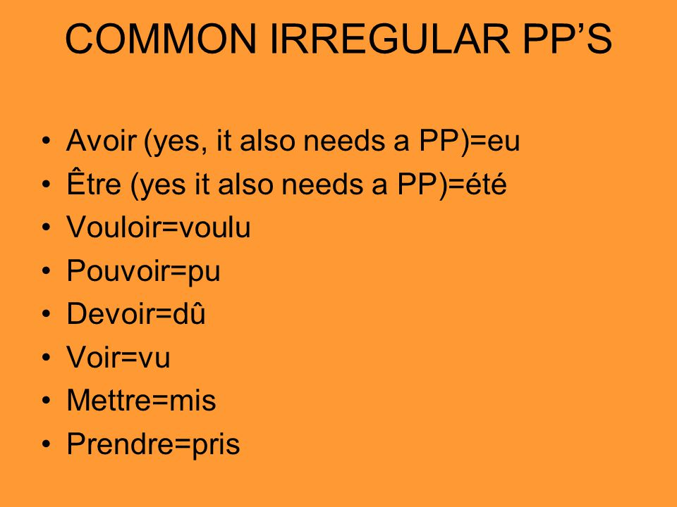 COMMON IRREGULAR PP'S Avoir (yes, it also needs a PP)=eu