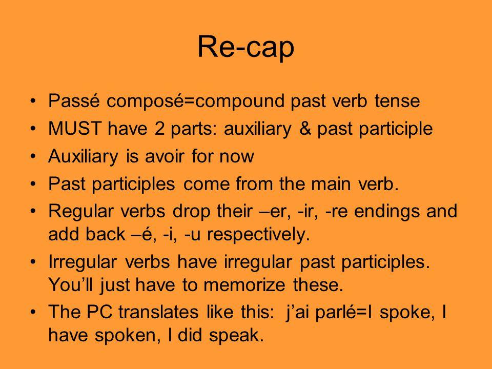 Re-cap Passé composé=compound past verb tense