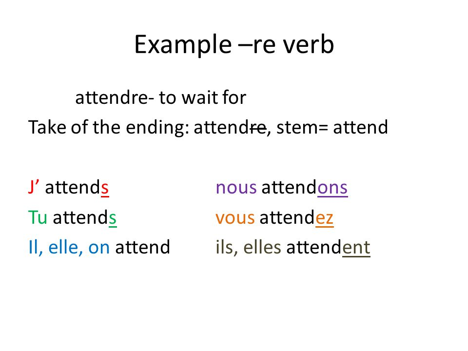 Example –re verb