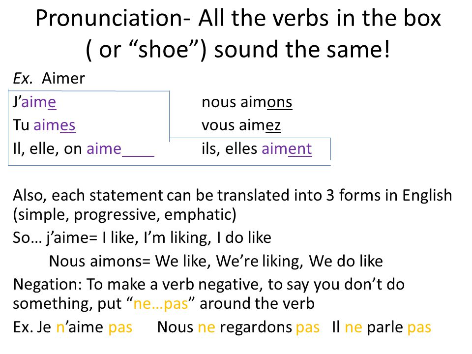 Pronunciation- All the verbs in the box ( or shoe ) sound the same!