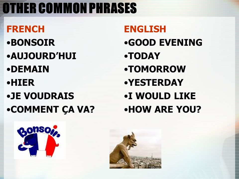OTHER COMMON PHRASES FRENCH BONSOIR AUJOURD'HUI DEMAIN HIER