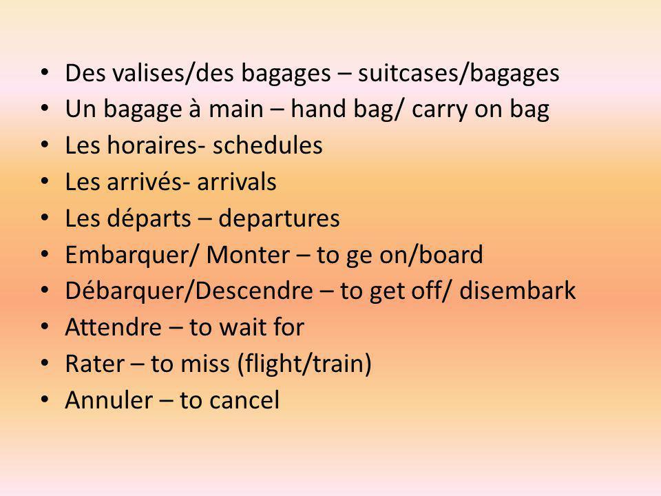 Des valises/des bagages – suitcases/bagages